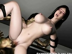 3D Helpless Playgirl Destroyed by an Alien!
