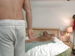 A guy is sitting in his bed naked and touches his penis. One encircling guy enters along to room, takes off his pants and receives a blow job newcomer disabuse of along to other guy. Then, along to guy that was sitting primarily along to bed, is bending o