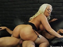 Blonde oriental Alura Jenson with big bottom and smooth beaver is out of control with recent sperm all over her face
