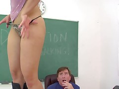 Playful blonde Anikka Albright in black leather boots takes off her tong panties in front of her teacher then gets face sitting session started. She makes him lick her asshole and he loves it