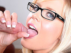 Darcy and Ray are back, and this duration Darcy is a sexy Interior designer. This sexy golden-haired hottie looks great in glasses. Ray needs help selecting a color for his walls. Darcy gives him that and a whole lot more. Ray fucks her and shoots a giant