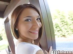 Anal gangbang for a hot brunette