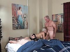 Hot Tits Daughter Fucks Grandpa While Dad Is