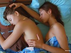 Tempting chick Vika Bachelor girl is sleepy with their way adorable coddle