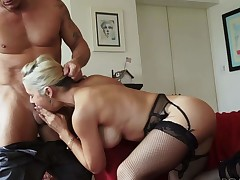 Lovely blonde pornstar Sarah Vandella in black stockings polishes hot guys hard cock with her lips and then gets her big melons fucked. Hes ready to bang her hot boobs day and night
