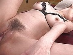 Sexy and horny Japanese milf Akari Asagiri takes on two dicks. She takes turns sucking each twosome then lays nearly like a whore to succeed in fucked hard. The cock enters her hairy milf vagina and she moans with pleasure.