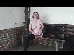 Slut Wife Pissing and Fingering in Public