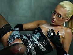 Clothed blonde sprayed with cum
