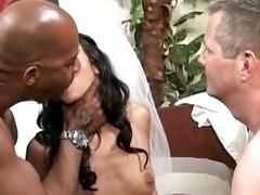 Slutty cuckold bride loves interracial