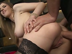 Stella Cox really loves to tease. She has the body to captivate men for hours. In this scene that babe is in her hawt stockings as that babe is getting an anal gangbang.