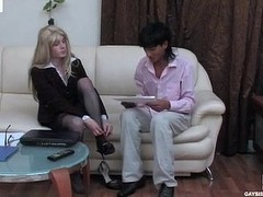 Blond sissy secretary in a sexy suit plays numbers game in advance of gay bumming