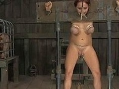 Gagged and bound forth hottie is whipped ferociously